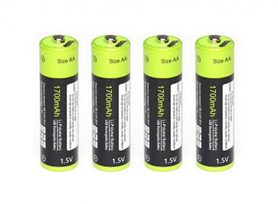 Znter 1.5V 1700mAh USB Rechargeable AA LiPoly Battery (4pcs) 1