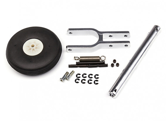 Alloy Trailing Link Undercarriage Strut with Wheel and Rubber Tire (150mm Long/5mm Pin)