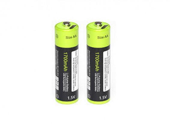 Znter 1.5V 1700mAh USB Rechargeable AA LiPoly Battery (2pcs) 1