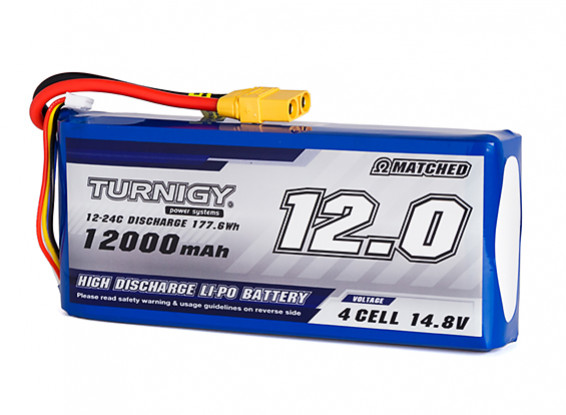 Turnigy High Capacity 12000mAh 4S 12C Multi Rotor Lipo Pack XT90