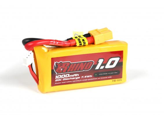 Rhino 1000mAh 2S1P 20C Lipo Pack w/XT60