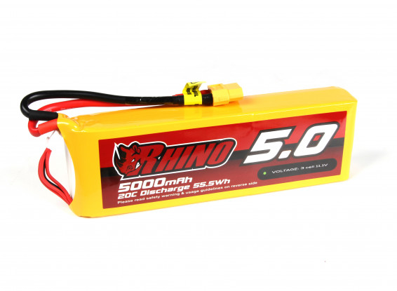 Rhino 5000mAh 3S 20C Lipo Pack w/XT60