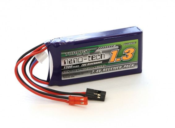 Turnigy Nano-Tech 1300mAh 2S1P 20~40C Lipo Receiver Battery Pack w/JST & JR Type Connectors