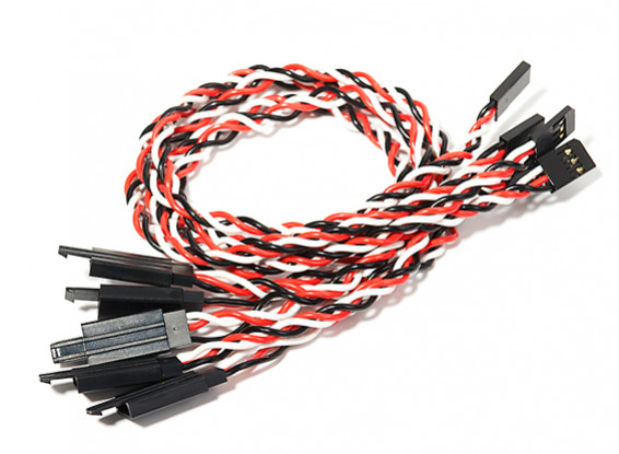 300mm Twisted Servo Lead Extension (Futaba) with Hook 22AWG (5pcs/bag)