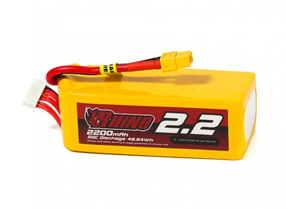 Rhino 2200mAh 6S 50C Lipo Pack w/XT60