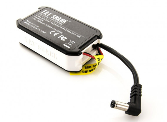 Fatshark 1800mAh 7.4V Battery Pack USB Charging LED Indicators