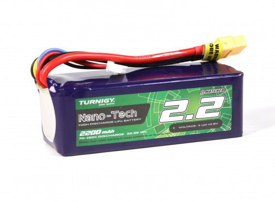 Turnigy Nano-Tech Plus 2200mAh 4S 70C Lipo Pack w/XT60