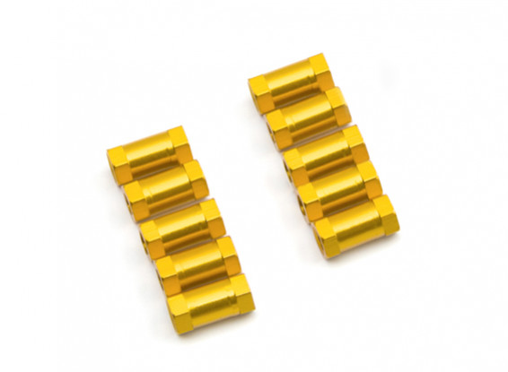 Lightweight Aluminium Round Section Spacer M3x10mm (Gold) (10pcs)
