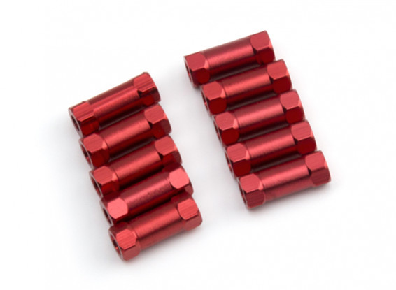 Lightweight Aluminium Round Section Spacer M3x13mm (Red) (10pcs)