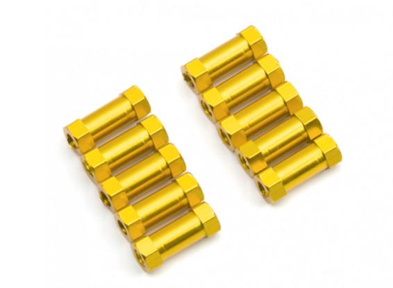 Lightweight Aluminium Round Section Spacer M3x13mm (Gold) (10pcs)