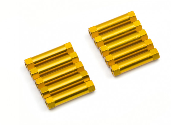 Lightweight Aluminium Round Section Spacer M3x22mm (Gold) (10pcs)