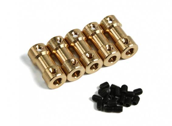 Brass Motor Transmission Connector 5mm-4mmxD9xH20mm (5pcs)