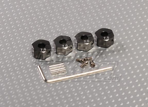 Titanium Color Aluminum Wheel Adaptors with Lock Screws - 7mm (12mm Hex)