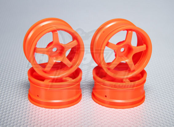 1:10 Scale Wheel Set (4pcs) Orange 5-Spoke RC Car 26mm