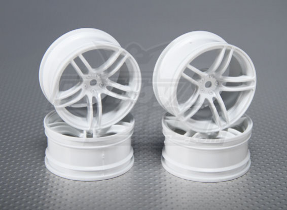1:10 Scale Wheel Set (4pcs) White Split 5-Spoke RC Car 26mm (3mm offset)