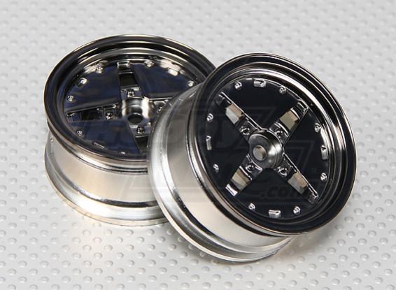 1:10 Scale Dish Wheel Set (2pcs) Gunmetal RC Car 26mm