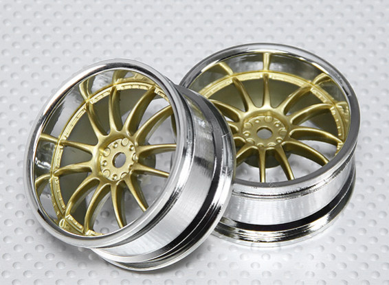 1:10 Scale Wheel Set (2pcs) Chrome/Gold Split 6-Spoke RC Car 26mm (3mm Offset)