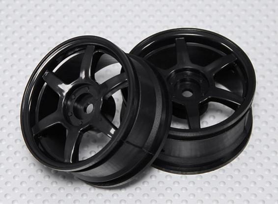 1:10 Scale Wheel Set (2pcs) Black 6-Spoke RC Car 26mm (no offset)