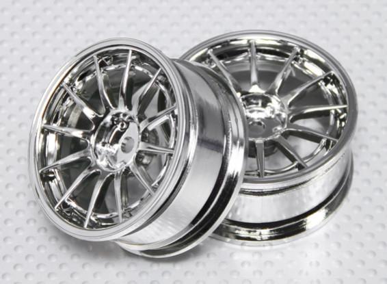 1:10 Scale Wheel Set (2pcs) Chrome 12-Spoke RC Car 26mm (no offset)