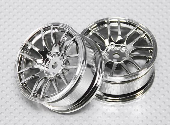 1:10 Scale Wheel Set (2pcs) Chrome Split 7-Spoke RC Car 26mm (3mm offset)