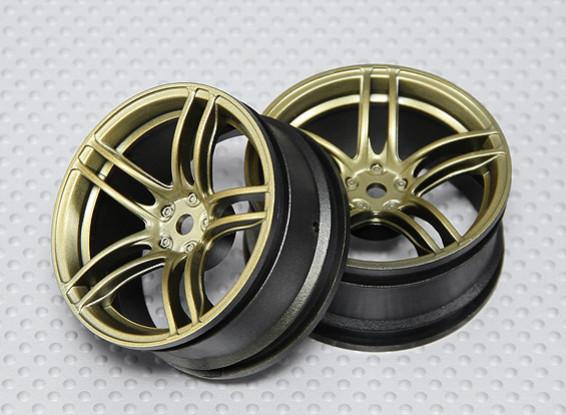1:10 Scale Wheel Set (2pcs) Gold Split 5-Spoke RC Car 26mm (3mm Offset)