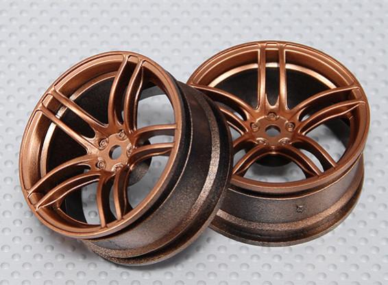 1:10 Scale Wheel Set (2pcs) Bronze Split 5-Spoke RC Car 26mm (3mm offset)