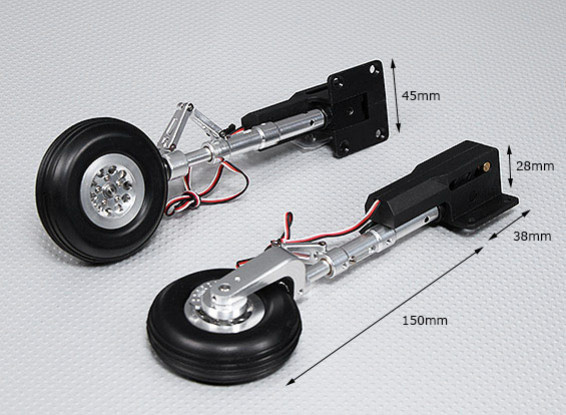 90 Degree Electric Retract with Metal Trunnion, Alloy Oleo Leg & Alloy Wheel (2pc)