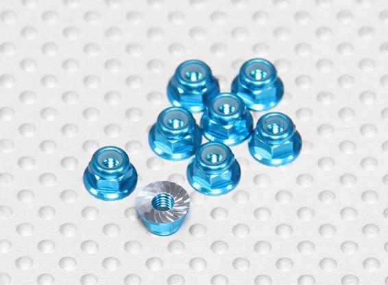 Blue Anodised Aluminum M3 Nylock Wheel Nuts w/ Serrated Flange (8pcs)