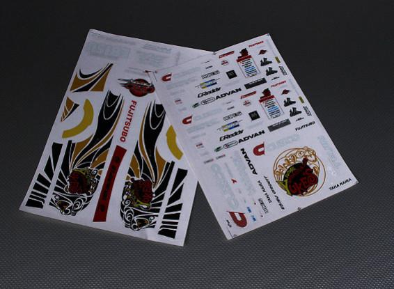 Self Adhesive Decal Sheet -Yukes 1/10 Scale