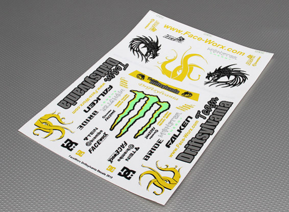Self Adhesive Decal Sheet -Driftsylvania Team 2010 1/10 Scale (345mm x 240mm)