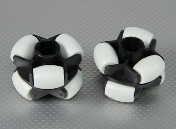 55x45mm Plastic Omni Wheel 16mm Hex (2Pcs/Bag)