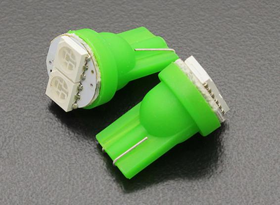 LED Corn Light 12V 0.4W (2 LED) - Green (2pcs)