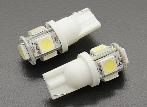 LED Corn Light 12V 1.0W (5 LED) - White (2pcs)