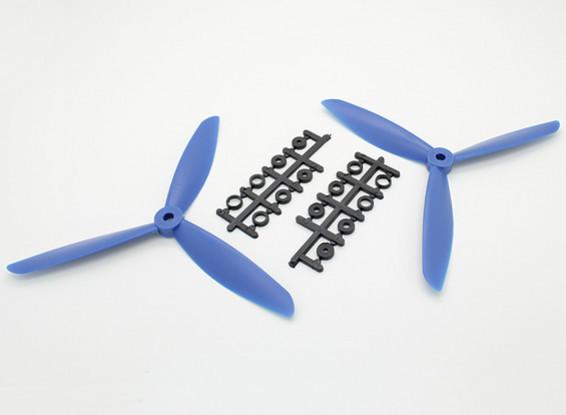 Hobbyking™ 3-Blade Propeller 7x4.5 Blue (CW/CCW) (2pcs)