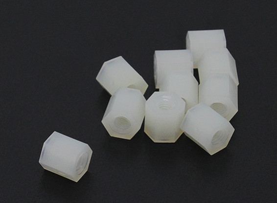 5.6mm x 6mm M3 Nylon Tapped Spacer (10pc)