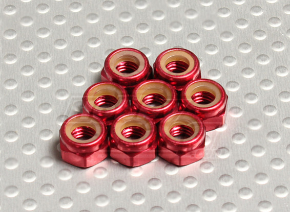 Red Anodised Aluminum M5 Nylock Nuts(8pcs)