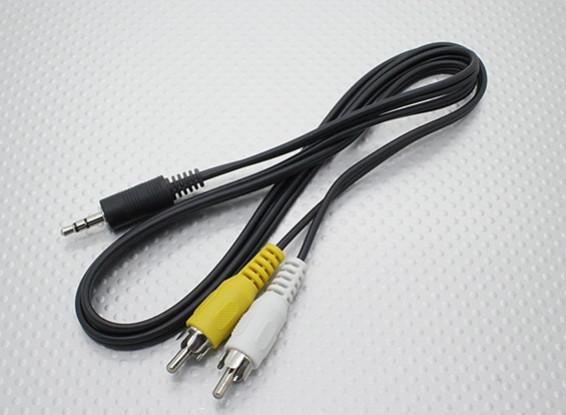 3.5mm to Male Mono RCA A/V Plugs Lead (100mm)