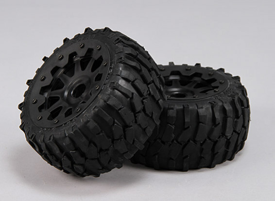 Rear Macadam Tires/Wheels Complete Set - 1/5 Baja 260 and 260S