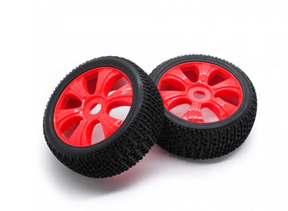 HobbyKing 1/8 Scale T Block Y-Spoke Wheel/Tire 17mm Hex (Red)