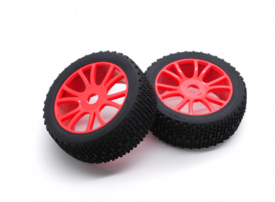 HobbyKing 1/8 Scale Scrambler Y-Spoke Wheel/Tire 17mm Hex (Red)