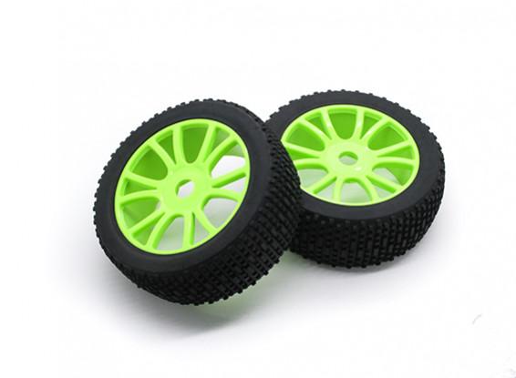 HobbyKing 1/8 Scale Scrambler Y Spoke Wheel/Tire 17mm Hex (Green)