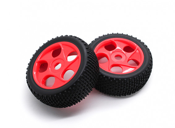 HobbyKing 1/8 Scale K Spec Star Spoke Wheel/Tire 17mm Hex (Red)