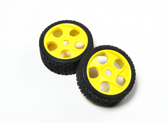 HobbyKing® 1/8 Star Spoke Yellow Wheel & On-road Tire 17mm Hex (2pc)