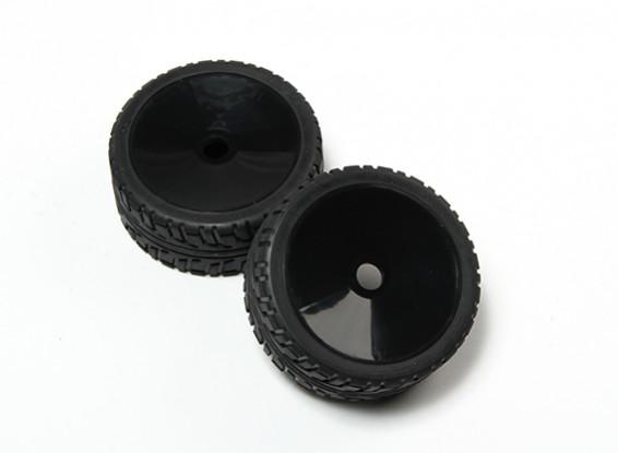 HobbyKing® 1/8 Rally Dish Black Wheel & On-road Tire 17mm Hex (2pc)