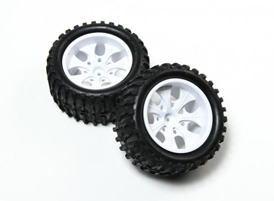 HobbyKing® 1/10 Monster Truck 7-Spoke White Wheel & Wave Pattern Tire 12mm Hex (2pc)