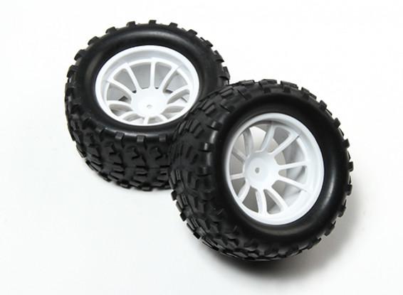 HobbyKing® 1/10 Monster Truck 10-Spoke White Wheel & Block Pattern Tire 12mm Hex (2pc)
