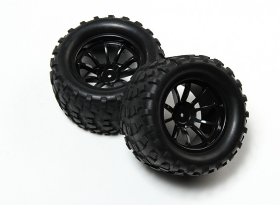 HobbyKing® 1/10 Monster Truck 10-Spoke Black Wheel & Block Pattern Tire 12mm Hex (2pc)