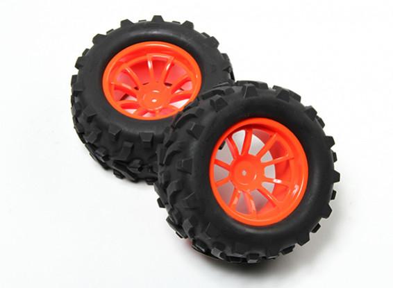 HobbyKing® 1/10 Monster Truck 10-Spoke Fluorescent Orange Wheel & Arrow Pattern Tire (2pc)