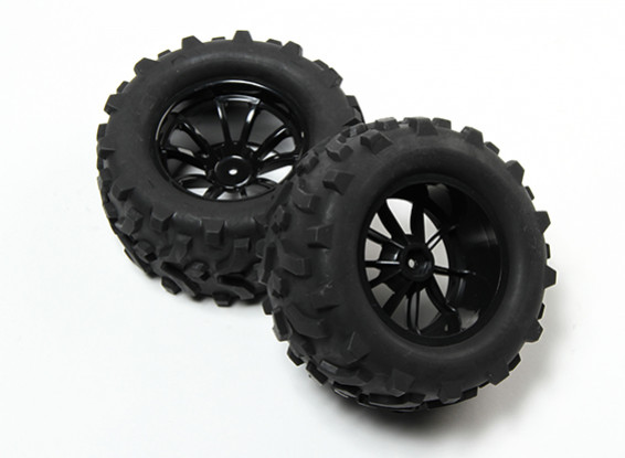 HobbyKing® 1/10 Monster Truck 10-Spoke Black Wheel & Arrow Pattern Tire (2pc)