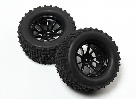HobbyKing® 1/10 Monster Truck 10-Spoke Black Wheel & I-Pattern Tire 12mm Hex (2pc)